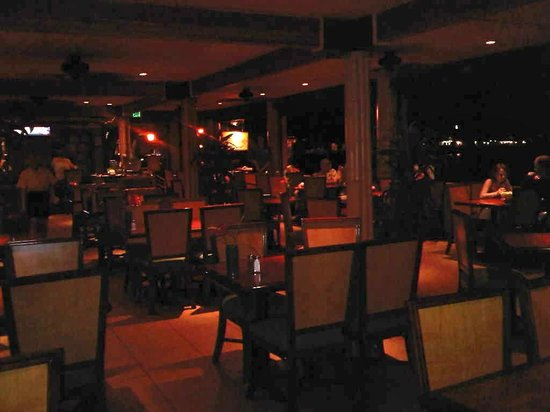 """Fish Hopper Seafood and Steaks : """"Ocean view seats"""" seen to right of photo"""