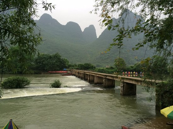 Yangshuo Bethlehem Hotel: A bridge to the other side for mountain view and farm walk. About 10 mins from hotel