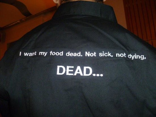Rakang: This is the back of the servers shirts.....I had to ask my server to allow me to take a picture