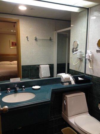 Bishop Lei International House: 洗面台周りはそこそこの広さ