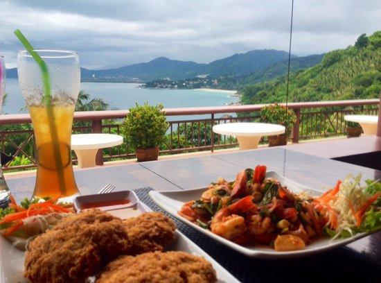 Sabai Corner: Chili prawn salad (heaps of prawns) and huge prawn cakes, surpassed only by the view!