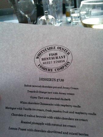 The Whitstable Oyster Company: Dessert Karte
