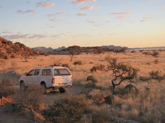 Solitaire Desert Farm: Paysage vue de la maison au lever du soleil