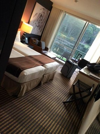 MGSM Executive Hotel and Conference Centre: Our room, two king single beds.