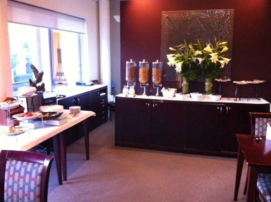 MGSM Executive Hotel and Conference Centre: The two tables laid out for the breakfast buffet.