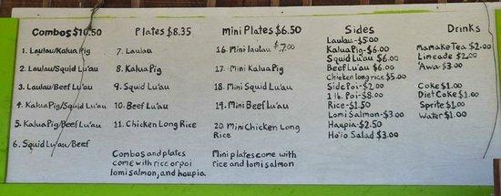 Waiahole Poi factory : Меню с ценами - все очень просто