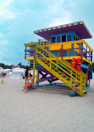 South Beach : The life guard house,so many of them with different colour schemes
