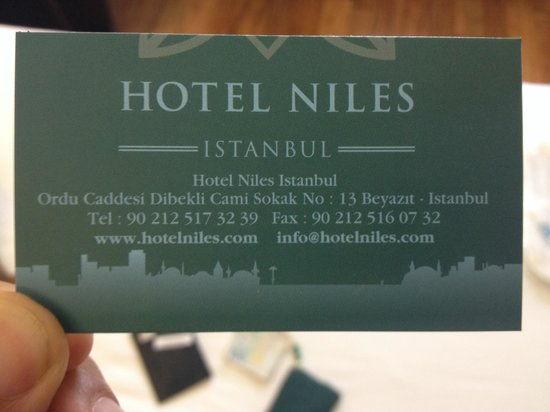 Hotel Niles Istanbul: Hotel card