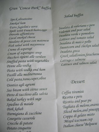 Conca Park Hotel: menu