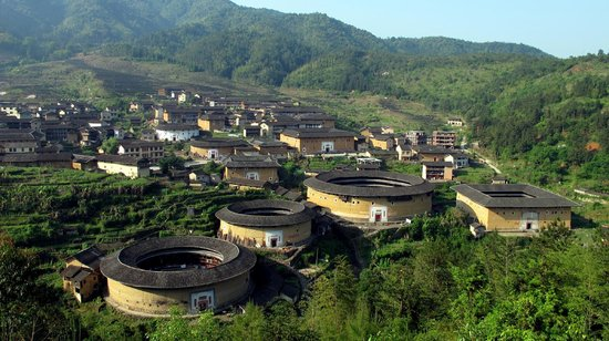 Chuxi Tulou: View of Chuxi from the viewing platform