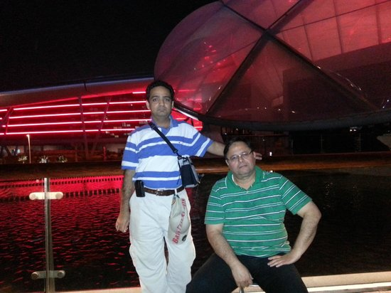 Ferrari World Abu Dhabi: Me (standing) with brother in Law at Ferrari World