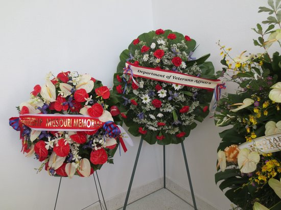 USS Arizona Memorial/World War II Valor in the Pacific National Monument: wreaths at the memorial ,, its Memorial Day May 26