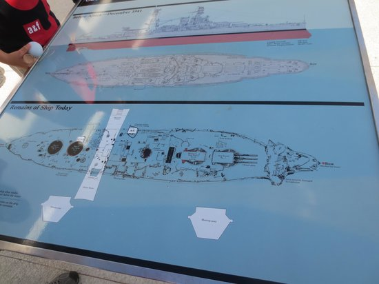 USS Arizona Memorial/World War II Valor in the Pacific National Monument: cross section of the USS Arizona