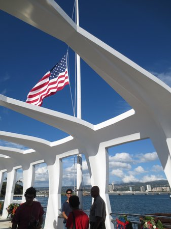 USS Arizona Memorial/World War II Valor in the Pacific National Monument: half mast on Dec 7 and Memorial day