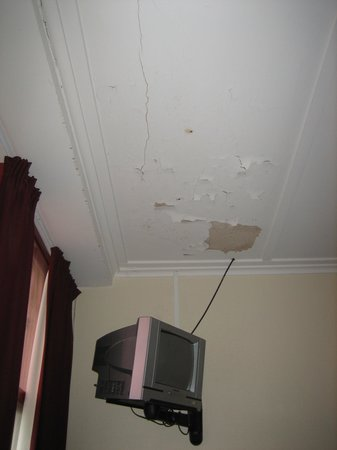 Criterion Art Deco Backpackers: Room 1 - ceiling over my bed needs repair (Feb. 2014)