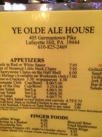 Ye Olde Ale House: Great food menu !! Awesome roast beef sandwiches and garlic parm fries!!