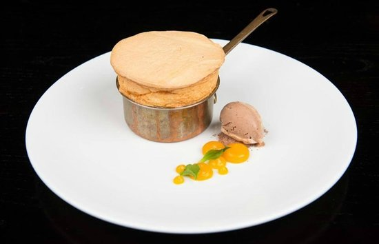House of the Rising Sun: Passion Fruit Soufflé, Chocolate Sorbet