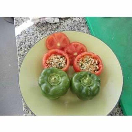 Santorini Wine Tour: Stuffed tomatoes & peppers (before)