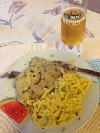 Andreas Stube: Schnitzel, mushroom sauce, and spatzle