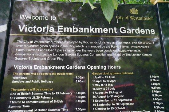 Victoria Embankment Gardens: Info board