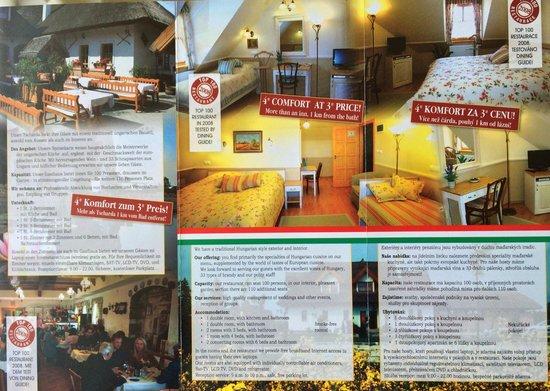 Rigotanya Restaurant and Guesthouse Bukfurdo: Buklet full 2