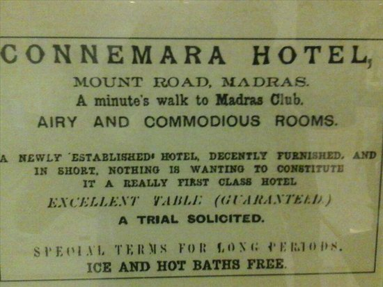 Vivanta by Taj - Connemara, Chennai : AN AGE OLD ADVERTISEMENT IN LOCAL PAPER - IN CHENNAI (WEATHER !) 'HOT BATH' & THEN 'ICE' IS 'FRE