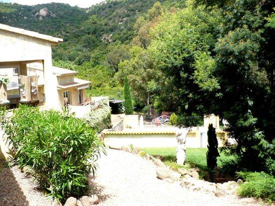 Rocca Rossa B&B : vue sur le jardin et la piscine depuis la chambre