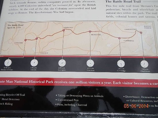 Minute Man National Historical Park: Battle Road map