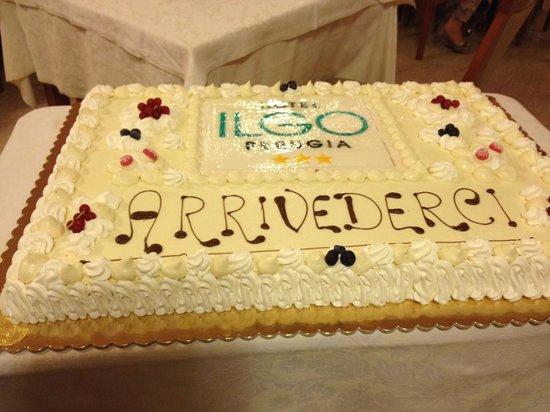 Ilgo Hotel: torta dell'arrivederci