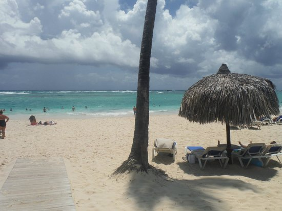 Luxury Bahia Principe Ambar: white sand beaches and turquoise blue ocean...lots lounge chairs under the palapas and in the su