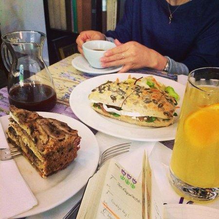 Muj Salek Kavy : drip coffee, banana cake, goat cheese sandwich, and homemade ice tea