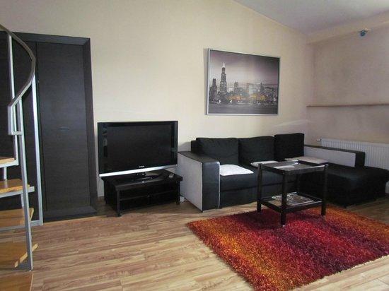 P&J Apartamenty Sw. Krzyza: Divano e tv schermo piatto