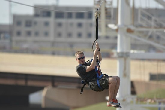 Oklahoma City Boathouse District: The SandRidge Sky Zip runs 700 ft across the Oklahoma River.