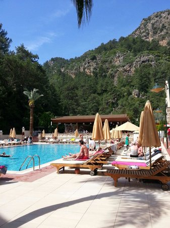 Julian Forest Suites: Pool view and mountain in the forest