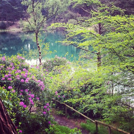 The Blue Pool and Tea House: On an overcast May afternoon still beautiful.