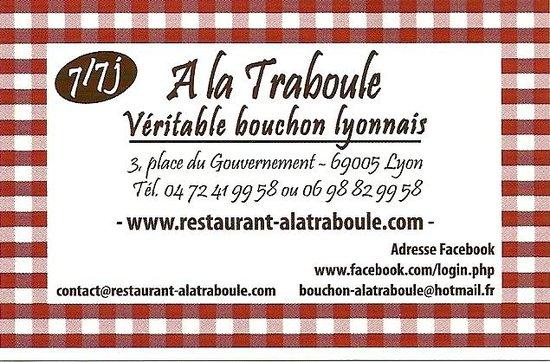 A la Traboule: Carte de visite