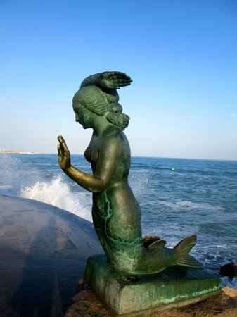 Hotel La Santa Maria: This mermaid statue is near the church front steps in Sitges.