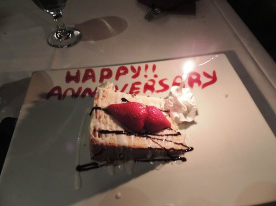 Chama Gaucha Brazilian Steakhouse : Our complimentary anniversary cake! Made our day :)
