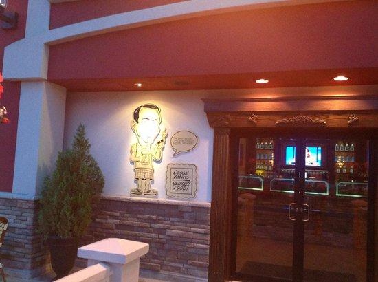 Delmonico's Italian Steakhouse : caricature front entrance