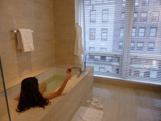 Langham Place, New York: The marble bathroom (plus me)