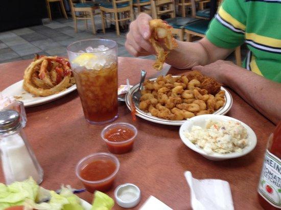 White River Fish Market: Popcorn shrimp, hush puppies, cole slaw and onion rings