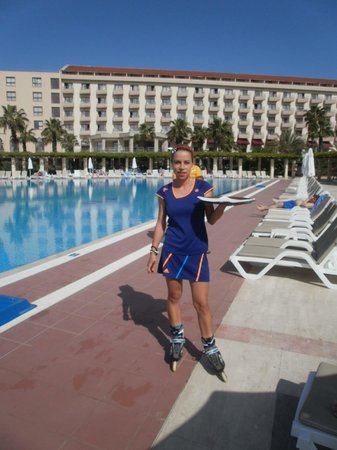 Hotel Riu Kaya Belek: Our wonderful rollerboot waitress