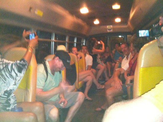 One Love Bus Bar Crawl: Later bus ride (notice the dancing)