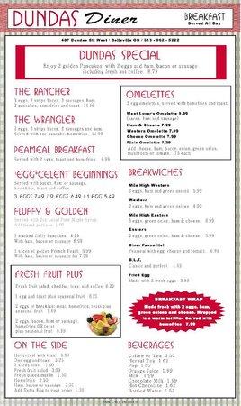 Dundas Diner: Menu (more new items coming)