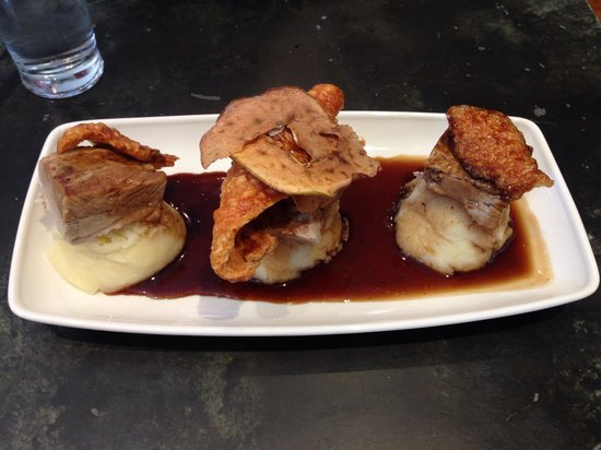 The Glynne Arms: delicious pork belly with creamed potatoes
