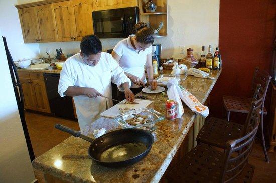"Worldmark Coral Baja: Workers from ""El Matador"" restaurant prepare food"