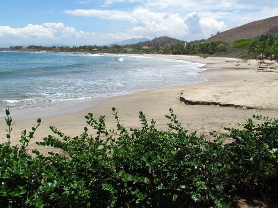 The Inn at Manzanillo Bay: Fine sandy beach four easy steps down from the pool level.