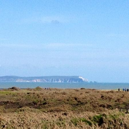 View over towards Isle of Wight from Hengistbury Head