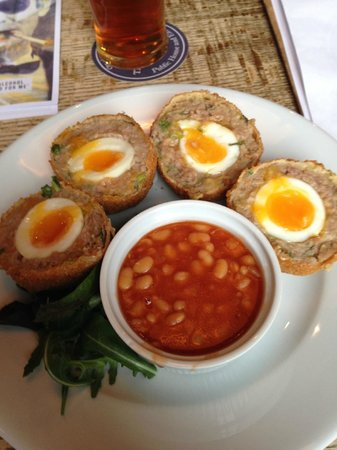 The Town Wall: Runny scotch eggs with beans, what more could you want??