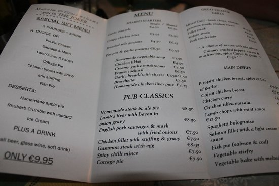 The Joker: menu.